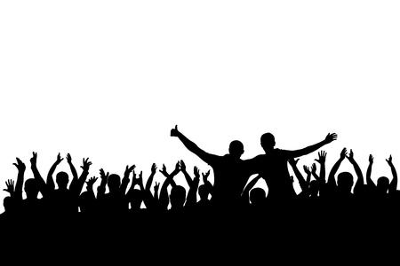 una ilustración de una multitud en un deseo alegre en la silueta .