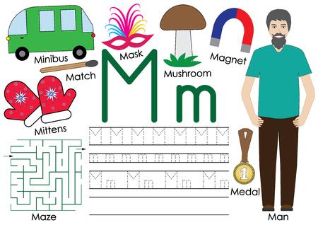 Letter M. Alphabet. English language. Writing practice. Illustration