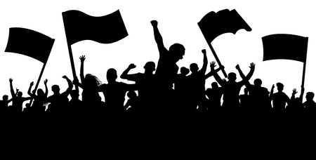 Crowd of people with flags, banners. Sports, mob, fans. Demonstration, manifestation, protest, strike, revolution, riot, propaganda. Silhouette background vector