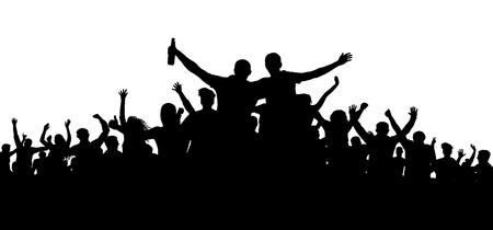 Menigte van mensen, vrienden bij een feestsilhouet. Concert, festival, muziek. Juich mensen toe. Juichend applaus van het publiek. Vrolijke sportliefhebber. Mob voetbal banner. Man met een flesje bier, alcohol