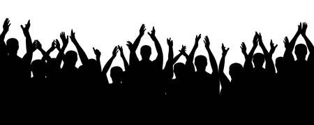 Crowd people cheering, cheer hands up. Applause audience. Cheerful mob fans applauding, clapping. Vector silhouette concert 版權商用圖片 - 100261073