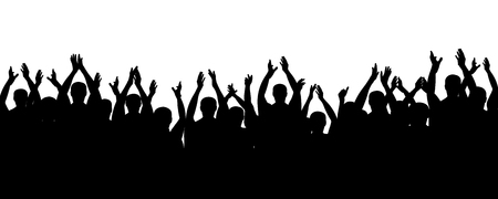 Crowd people cheering, cheer hands up. Applause audience. Spectators theater. Cheerful mob fans applauding, clapping. Party, concert, sport. Vector silhouette Vectores