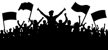 Silhouette cheer crowd people. Audience cheering applause, clapping. Cheerful sports fan. Mob soccer banner. Party music concert. Demonstration, protest, strike, revolution, riot. Isolated vector