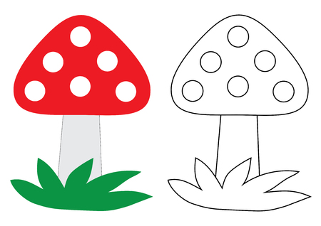 Fly agaric (mushroom) cartoon. Coloring book. Activity for children. Ilustracja