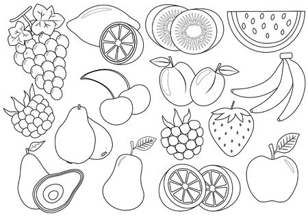 Kleurboek. Fruit en bessen cartoon. Pictogrammen. Vector illustratie.