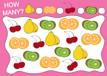Education for preschool children. Educational game how many objects of fruits. Vector illustration. Ilustração
