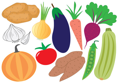 Vegetables cartoon set, icons. Vector illustration