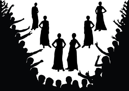 Fashion show, beauty contest. Model, girls, fans, the crowd, silhouettes. Illustration