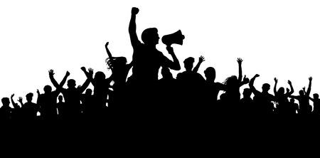 Crowd of people silhouette vector. Speaker, loudspeaker, orator, spokesman. Applause of a cheerful people mob. Sports fans. Demonstration, protest. Meeting of people