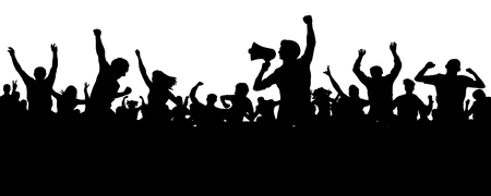 Crowd of people silhouette vector. Speaker, loudspeaker, orator, spokesman. Applause of a cheerful people mob. Sports fans. Demonstration, protest