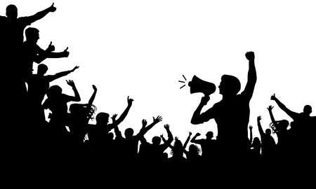 Folla di persone sagoma vettoriale. Altoparlante, altoparlante, oratore, portavoce. Applausi di una folla di gente allegra Vettoriali