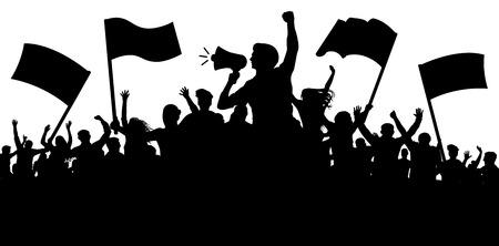 Folla di persone con bandiere, striscioni. Sport, mafia, tifosi. Dimostrazione, manifestazione, protesta, sciopero, rivoluzione, altoparlante, corno. Vettore di sfondo sagoma