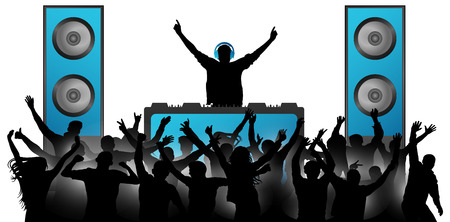 DJ in the headphones plays music on the mixer. Crowd of cheerful people applauding. Musical big speakers. Party, concert, club, festival