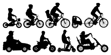 Family with children traveling on bikes. Mountain bike. Cyclist with a child stroller. City cycling family. Children transport, car, scooter, motorcycle. Amusement park. Silhouette vector set