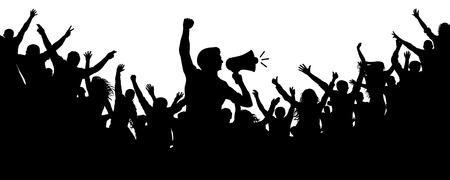 Motivatore umano. Folla di persone sagoma vettoriale. Altoparlante, altoparlante, oratore, portavoce. Applausi di una folla di gente allegra. Appassionati di sport. Dimostrazione, protesta. Le persone allegre affollano gli applausi