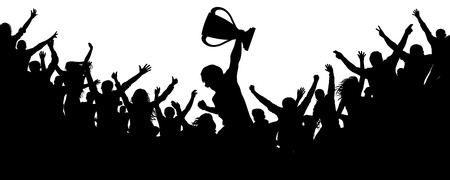 Sport victory cup. Cheering crowd fans silhouette. Ð¡rowd of people sport fans, vector. Cheers of applause
