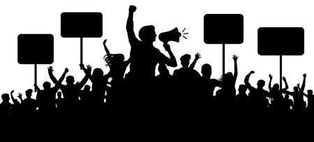 Folla di persone sagoma vettoriale. Trasparenti, slogan di protesta. Altoparlante, altoparlante, oratore, portavoce. Applausi di una folla di gente allegra. Appassionati di sport. Striscione dimostrativo. Incontro di persone