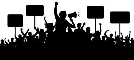 Menschenmenge Silhouette Vektor. Transparente Protest-Slogans. Sprecher, Lautsprecher, Redner, Sprecher. Applaus eines fröhlichen Volksmobs. Sportfans. Demonstrationsbanner. Treffen von Menschen