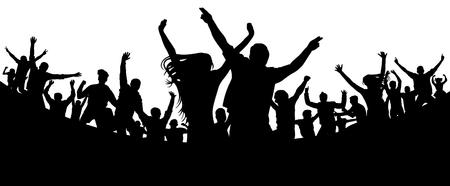 Fiesta, concierto, baile, diversión. Multitud de personas silueta vector. Juventud alegre Animar a la audiencia. Aplausos de mano. Festival de Música