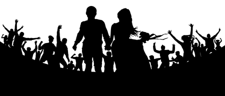Young couple, man and woman among the crowd. Party, concert, dance, fun. Crowd of people silhouette vector. Cheerful youth.Cheer audience. Hand applause. Music festival Stock Illustratie