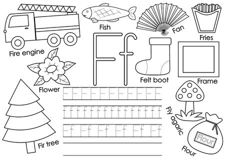 Letra F. Alfabeto inglés. Juego educativo para niños. Practica de la escritura. Libro de colorear. Ilustración de vector.