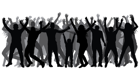 Silhouettes of people in full growth, crowd. Cheerful people. Vector Çizim