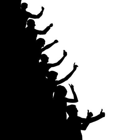 Vertical, cheerful crowd of people, silhouette vector