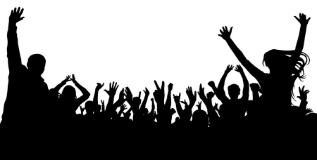 Sagoma di persone allietare folla. Applaudire il pubblico, vettore. Concerto, festa