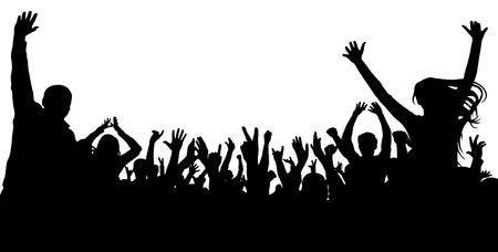 Menigte juichen mensen silhouet toe. Applaudisserend publiek, vector. Concert, feest