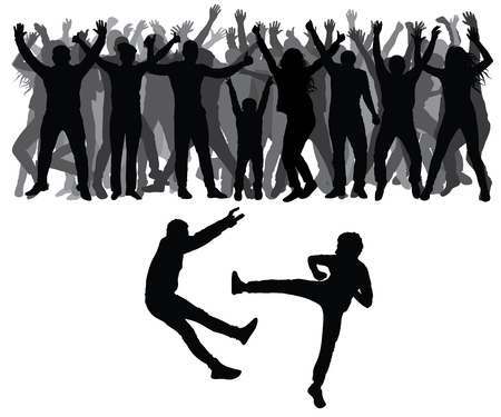 Two men fight against on the background of cheering crowd of people. Vector Illustration
