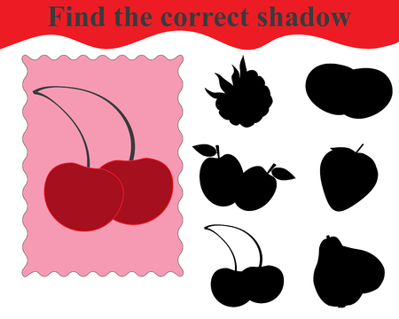 Find the correct shadow, educational game for kids. Sweet cherries. Vector illustration Banque d'images - 115094155