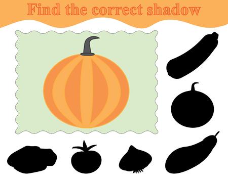 Formazione scolastica. Gioco per bambini. Trova l'ombra corretta della zucca. Illustrazione vettoriale. Vettoriali
