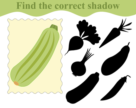 Find the correct shadow, educational game for kids. Vegetable marrow (zucchini). Vector illustration. Ilustracja