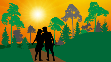 Loving couple (man and woman)  walks in the park (forest) and kisses. Silhouette, vector.