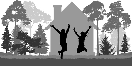 Young couple jumps near the house among trees. Love, freedom, independence. Vector