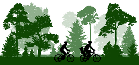 Family (man, woman and child) rides the bicycles in the park (forest). Silhouette, vector.