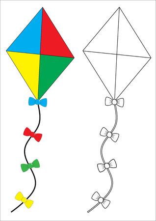 Kite. Coloring book, game for fids. Vector illustration. Иллюстрация