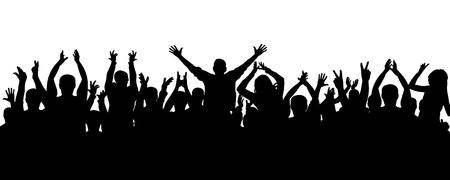 Applause people, crowd silhouette. Cheerful audience applauds