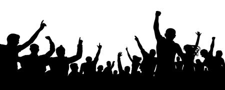 Menigte van vrolijke mensen, applaus silhouet vector. Grote menigte met veel mensen juichen en opgewonden. Publiek, evenement, menigte Vector Illustratie