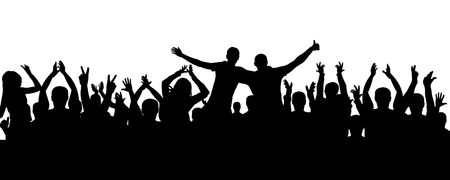 Crowd of people applauding silhouette. Cheerful audience, vector Illustration