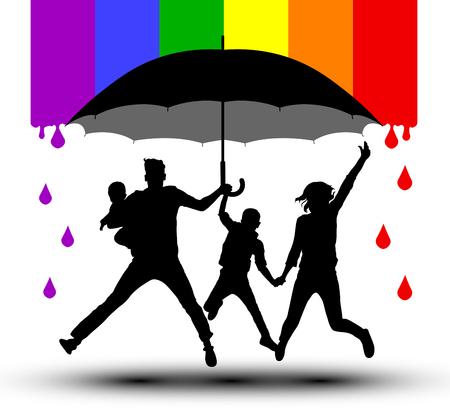 La famiglia è protetta da un ombrello, silhouette. Propaganda, bandiera LGBT. Famiglia tradizionale con bambini