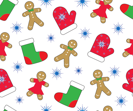 Christmas (new year) background, seamless pattern. Gingerbreads, mitten, stocking and snowflake. Vector