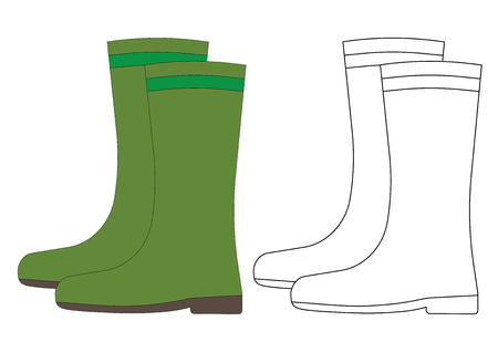 Overshoes, coloring page. Vector illustration. Ilustracja