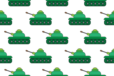 Tanks cartoon background, seamless pattern, vector illustration.