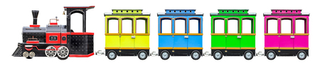 Locomotive for kids with wagons. Children's train with wheels, isolated