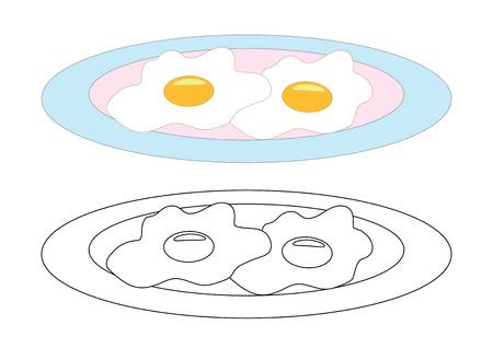 Huevos fritos en un plato, página para colorear. Ilustración de vector. Ilustración de vector