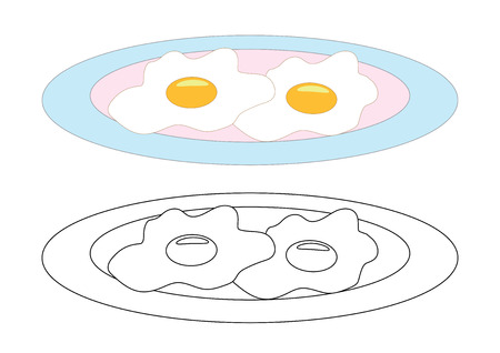 Uova fritte su un piatto, pagina da colorare. Illustrazione vettoriale. Vettoriali