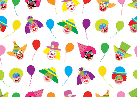Faces of clowns and balloons, holiday background. Seamless pattern, vector illustration.