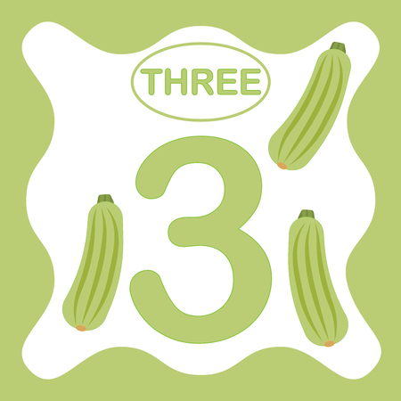 Number 3 (three), educational card, learning counting with vegetables, mathematics. Vector illustration.