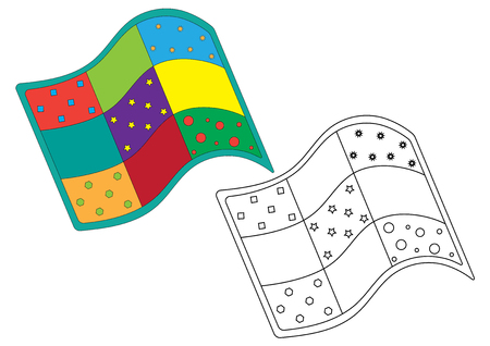 Quilt, coloring page. Vector illustration.